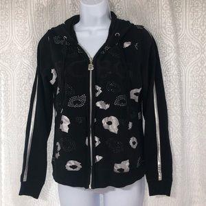 BCBG MAXAZRIA bling animal print zip up hoodie